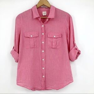 J Crew Perfect Shirt Button Up Tab Sleeve Pink S